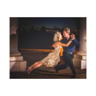 Tango dancing at dusk canvas print