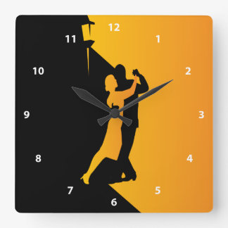 Tango Silhouette Dancers Square Wall Clock