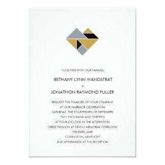 Tangram Heart Wedding Invitation Black Gold Silver
