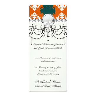 tangy orange teal white damask pattern card