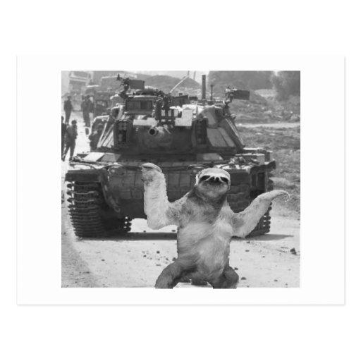 tank and sloth postcards