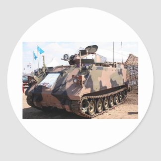 Tank: armored military vehicle round sticker
