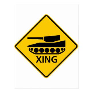 Tank Crossing Highway Sign Postcards