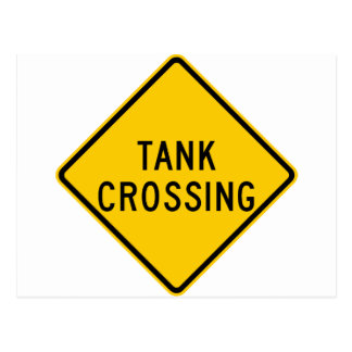 Tank Crossing Highway Sign Post Cards
