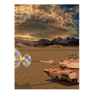 Tank Firing in the Desert Postcard