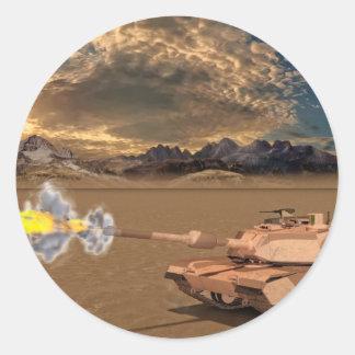 Tank Firing in the Desert Round Sticker