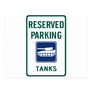 Tank Parking Highway Sign Post Card