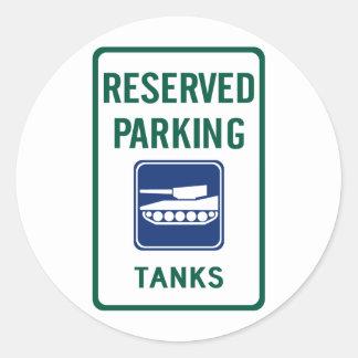 Tank Parking Highway Sign Round Stickers
