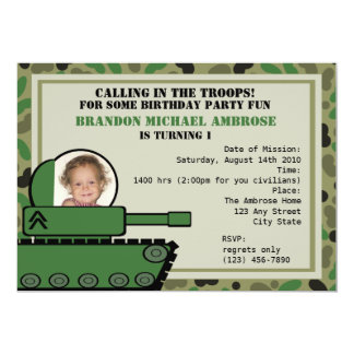 Tank Party Birthday/ Photo 13 Cm X 18 Cm Invitation Card