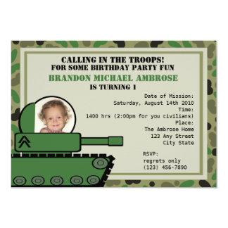 Tank Party Birthday/ Photo Card