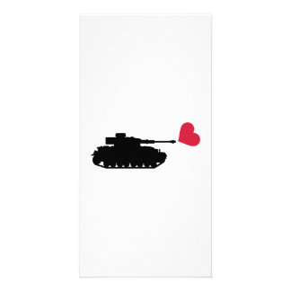 Tank red heart picture card
