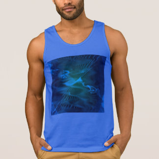 Tank Top with a Blue and Green Digital Art Pattern