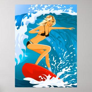 Tanned Surfer Girl Poster