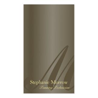 Tanning Business Card Pewter & Gold Monogram