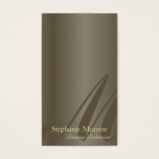 Tanning Business Card Pewter & Gold Monogram
