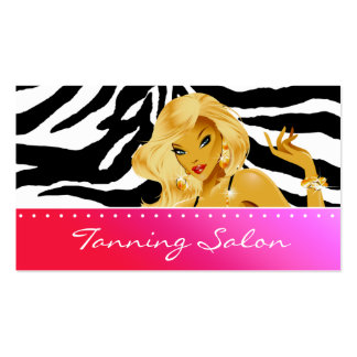 Tanning Business Card Red Pink Blonde Woman