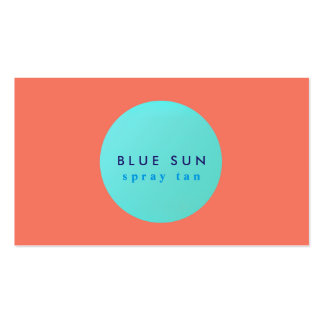 Tanning Salon Turquoise Sun Logo on Coral Pack Of Standard Business Cards