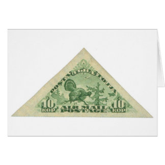 Tannu Tuva 10 Turkey Bright Green Triangle Stamp Greeting Card