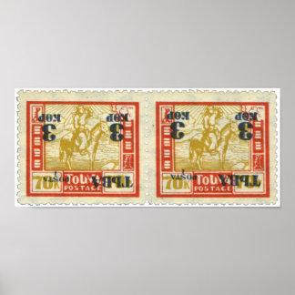 Tannu Tuva 70 Man on Horse Stamp Pair Portfolio Poster