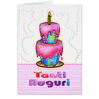 Tanti Auguri Italian Happy Birthday Cake pink blue Card