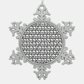 Tantric skulls pewter snowflake decoration