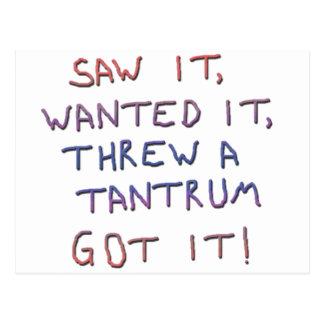 Tantrum copy postcard