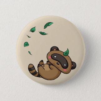 Tanuki and Leaves 6 Cm Round Badge