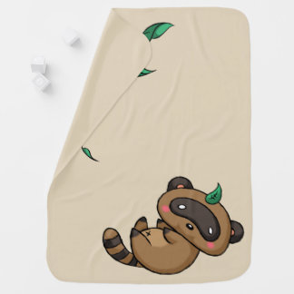 Tanuki and Leaves Baby Blanket
