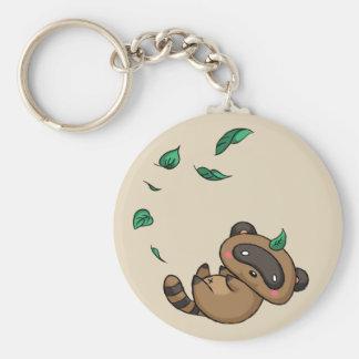 Tanuki and Leaves Key Ring