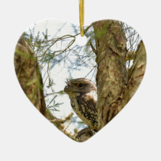 TANY FROGMOUTH QUEENSLAND AUSTRALIA CERAMIC HEART DECORATION