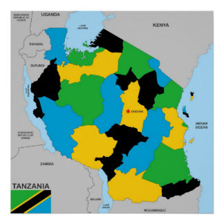 Tanzania country political map flag poster