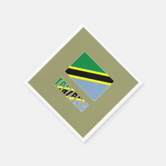 Tanzania Flag and Word Paper Napkins