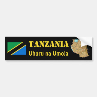Tanzania Flag + Map Bumper Sticker