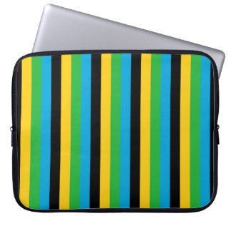 Tanzania flag stripes color lines pattern laptop sleeve