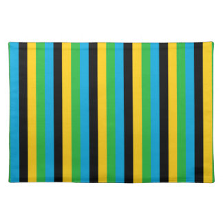 Tanzania flag stripes color lines pattern placemat