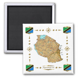 Tanzania Map + Flags Magnet