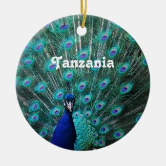 Tanzania Peacock Round Ceramic Decoration