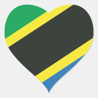 Tanzanian flag heart sticker