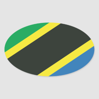 Tanzanian flag oval sticker