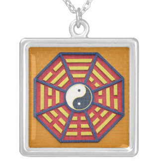 Taoist Octagonal Symbol in Bright Colors Silver Plated Necklace