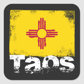 Taos Grunge Flag Square Sticker