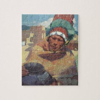 Taos Native American Indian Portrait, Blumenschein Jigsaw Puzzle