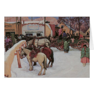 Taos Plaza in Winter Card