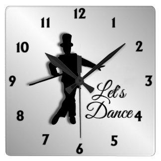 Tap Dancer Let's Dance Twelve Numbers Square Wall Clock