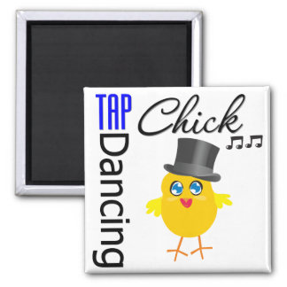 Tap Dancing Chick 3 Square Magnet