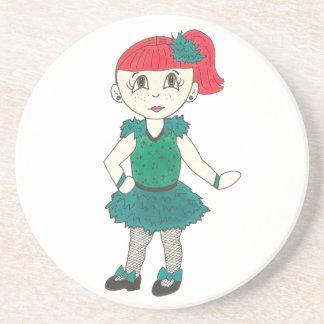 Tap Dancing Girl Redhead Freckles Dance Teacher Coaster