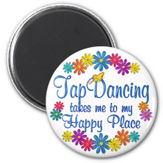 Tap Dancing Happy Place 6 Cm Round Magnet