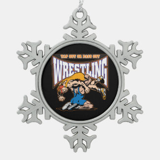 Tap Out Wrestlers Pewter Snowflake Decoration