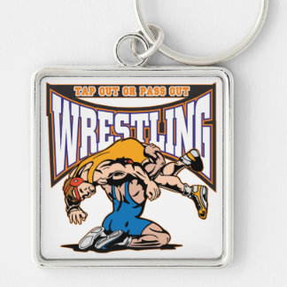 Tap Out Wrestlers Silver-Colored Square Key Ring
