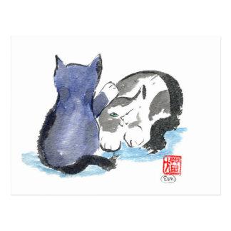 Tap, Tap, Tap Kitten wants to Play, Sumi-e Postcard